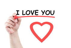 I love you. Statement concept text write on transparent wipe board by hand holding a marker Royalty Free Stock Photos