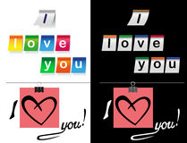 I love you stickers in black and white Royalty Free Stock Photos