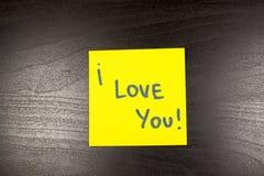 I Love You sticky note on black background Royalty Free Stock Image