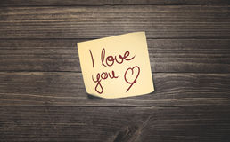I love you sticky note Stock Photos