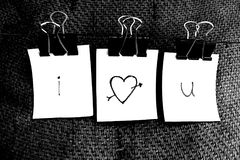 I Love You in sticky notes. I love you words hanging in paper clips royalty free stock photo