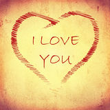 I love you in striped heart on beige old paper Royalty Free Stock Images