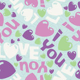 I love you sweet vector eps seamless pattern illus. Vector eps seamless sweet pattern illustration with I love you words and hearts royalty free illustration