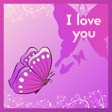 I love you. Sweetheart purple postcard with a butterfly. Stock Image