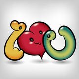 I love you symbol cartoon Stock Photo