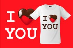 I love you, t-shirt design, modern print use for sweatshirts, souvenirs and other uses, vector illustration. Royalty Free Stock Images