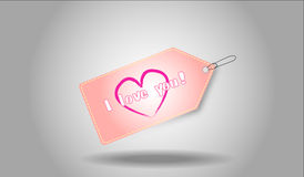 I love you tag. A pink tag with I love you sign Stock Image