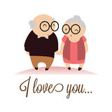 I love you. Text with abstract grandparents characters on white background vector illustration