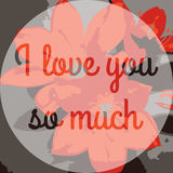 I love you Text on Background with lily Flower. Vector illustration. Valentine's Day or Mother's Day Romantic Backdrop Stock Photo