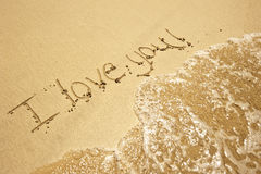 I love you text at the beach Royalty Free Stock Photo