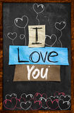 I love You text on Blackboard. Wallpaper Stock Photos