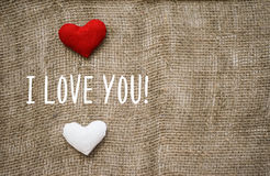 I love you text on canvas Stock Photo