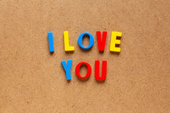 I love you text on cardboard background Stock Photos