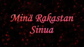 I Love You text in Dutch Mina Rakastan Sinua on dark background Royalty Free Stock Photo