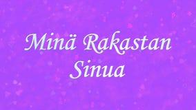 I Love You text in Dutch Mina Rakastan Sinua on purple background Royalty Free Stock Photos