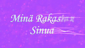 I Love You text in Dutch Mina Rakastan Sinua turns to dust from right on purple background Stock Photo