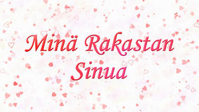 I Love You text in Dutch Mina Rakastan Sinua on white background. With hearts and roses Stock Photos