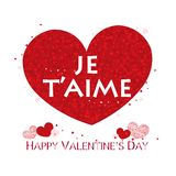 ``i love you`` text in french. Red shining sparkle heart. Happy Valentine`s day greeting card. Background vector illustration