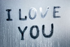 I love you text on frozen glass Royalty Free Stock Image