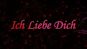 I Love You text in German Ich Liebe Dich formed from dust and turns to dust horizontally on dark background stock video footage