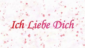 I Love You text in German Ich Liebe Dich formed from dust and turns to dust horizontally on white background stock footage