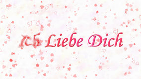 I Love You text in German Ich Liebe Dich turns to dust from left on white background stock illustration