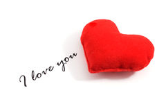 I love you text and heart Royalty Free Stock Images