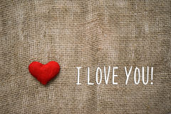 I love you text and heart Royalty Free Stock Photography