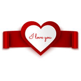 I love you text on heart and red ribbon banner isolated on white Stock Images