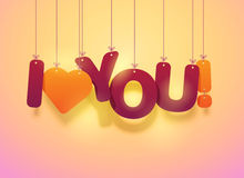 I love you text with hearts Stock Photography