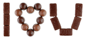 I love you text made of chocolates Stock Image
