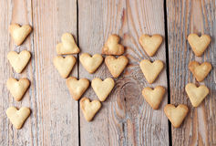 I love you text making with heart cookies for Valentine's day Stock Photos