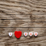I love you text on miniature hearts Royalty Free Stock Photography