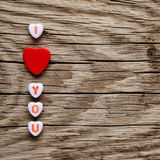 I love you text on miniature hearts Stock Photography