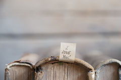 I love you text and old books. Love relationship married or valentine idea stock photography