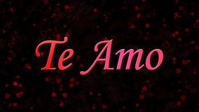 I Love You text in Portuguese and Spanish Te Amo on dark background Royalty Free Stock Photo