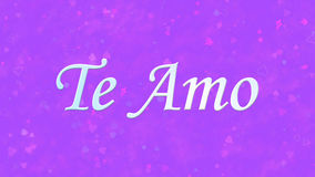 I Love You text in Portuguese and Spanish Te Amo on purple background Royalty Free Stock Photos