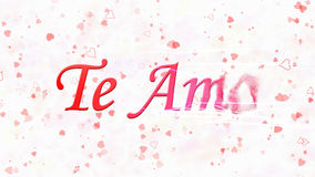 I Love You text in Portuguese and Spanish Te Amo turns to dust from right on white background Royalty Free Stock Photo