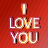 I love you. Text on red background Royalty Free Stock Images