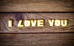 I love you. Text from the salty crackers as printed English lett Royalty Free Stock Images
