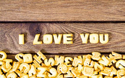 I love you. Text from the salty crackers as printed English lett Stock Images