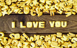 I love you. Text from the salty crackers as printed English lett Stock Photography
