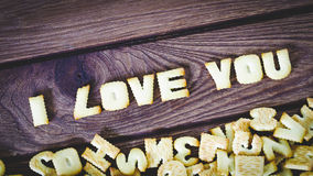 I love you. Text from the salty crackers as printed English lett Royalty Free Stock Photos