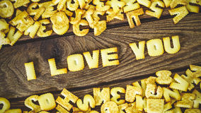 I love you. Text from the salty crackers as printed English lett Stock Photo