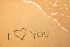I Love You, text in the sea beach. Stock Photography
