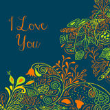 I Love you text on teal background with floral. Nature ornament with roses, flowers, bluebell, campanula, bellflower, leaves, branches. Vector illustration eps Royalty Free Stock Images