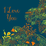 I Love you text on teal background with floral nature ornament with roses, flowers, bluebell, campanula, bellflower Royalty Free Stock Photos