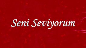 I Love You text in Turkish Seni Seviyorum formed from dust and turns to dust horizontally on red background stock video