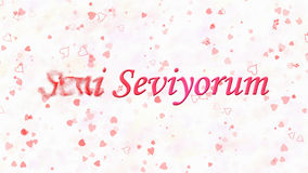 I Love You text in Turkish Seni Seviyorum turns to dust from left on white background Royalty Free Stock Photo