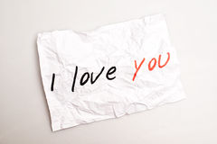 I love you. Text on white paper Royalty Free Stock Photography